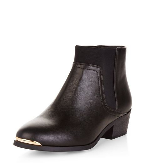 Wide Fit Black Metal Trim Chelsea Boots  | New Look