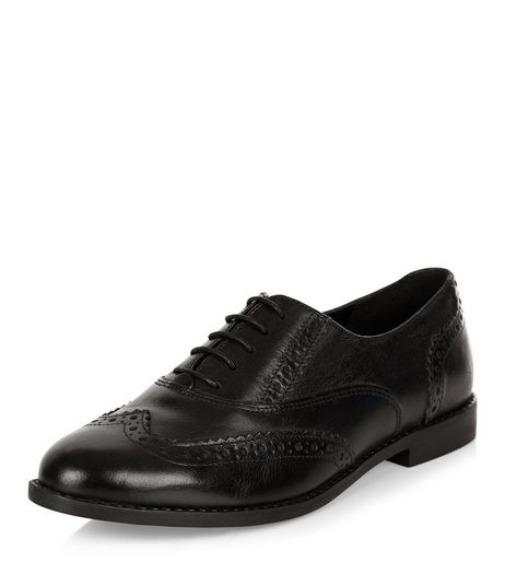Black Leather Embossed Brogues | New Look