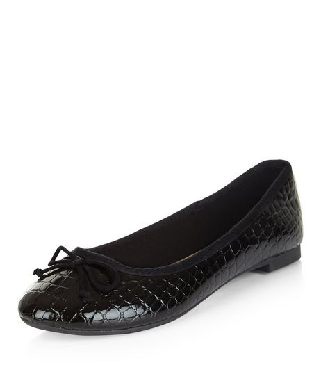 Black Croc Textured Ballet Pumps | New Look