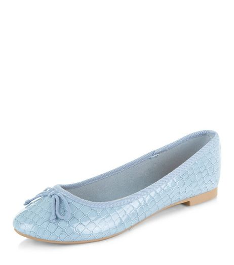 Pale Blue Croc Textured Ballet Pumps | New Look