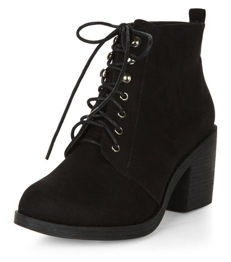 Wide Fit Black Suedette Lace Up Block Heel Ankle Boots | New Look