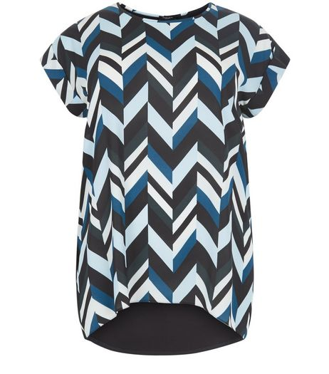 Curves Blue Geo Print Woven T-Shirt | New Look