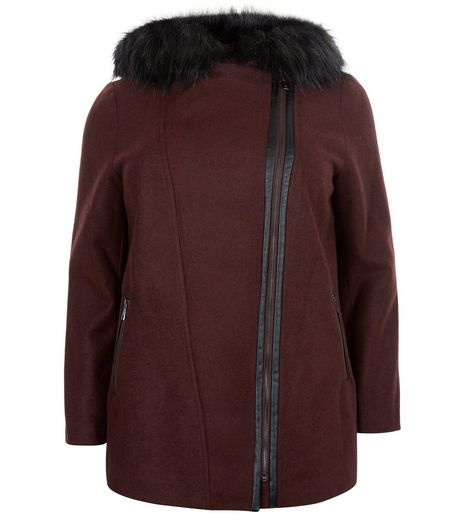 Curves Burgundy Faux Fur Trim Hooded Coat  | New Look