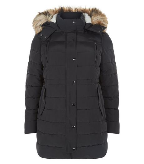 Curves Black Faux Fur Trim Padded Jacket | New Look