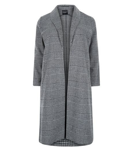 Curves Black Check Split Side Longline Coat  | New Look