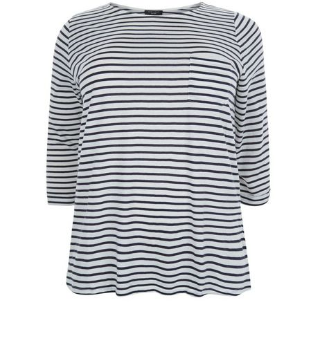 Curves Blue Stripe 3/4 Sleeve Top | New Look
