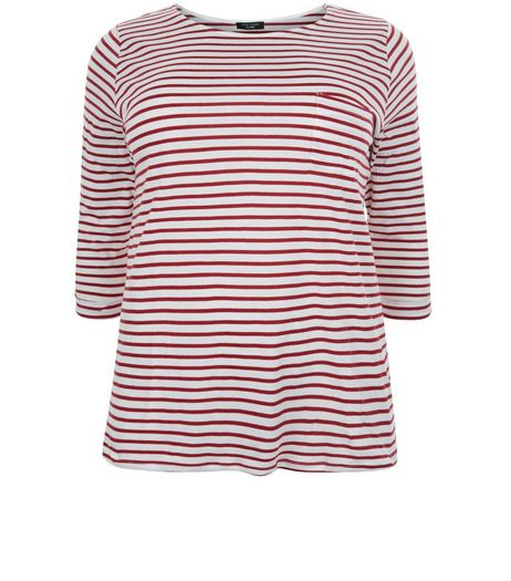 Curves Red Stripe 3/4 Sleeve Top | New Look