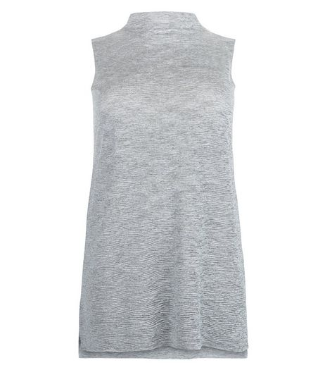 Curves Grey Pleated Sleeveless Top | New Look