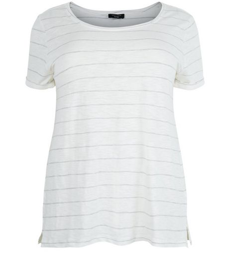 Curves White Stripe T-Shirt | New Look