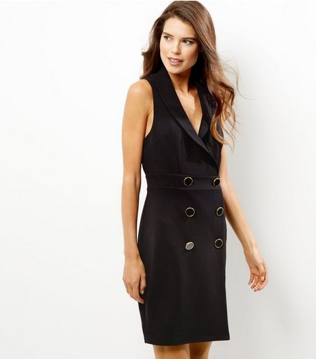 Black Button Front Sleeveless Tuxedo Dress | New Look