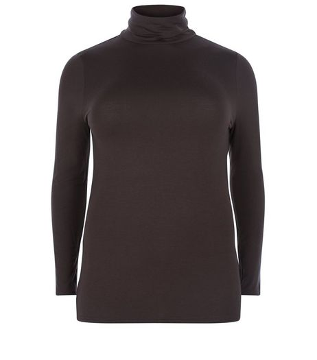 Curves Black Turtle Neck Long Sleeve Top  | New Look