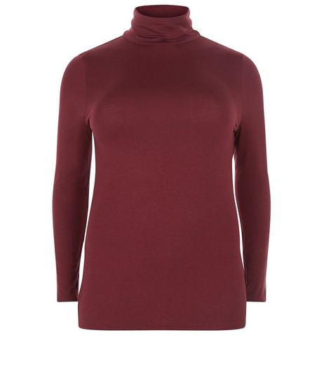 Curves Burgundy Turtle Neck Long Sleeve Top | New Look