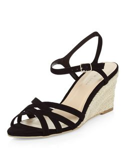 Black Cross Strap Espadrille Wedges  | New Look