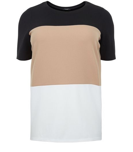 Curves Camel Colour Block T-Shirt | New Look
