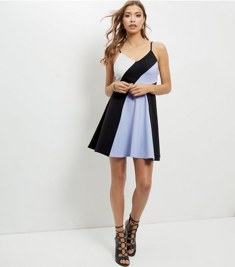 Black Asymmetric Colour Block Skater Dress | New Look