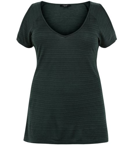 Curves Green Space Dye Cold Shoulde T-shirt | New Look