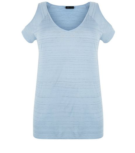 Curves Pale Blue Space Dye Cold Shoulder T-Shirt | New Look