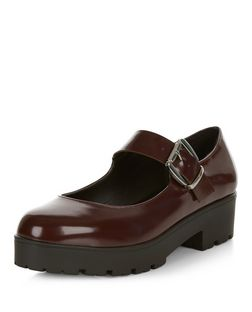 Wide Fit Dark Red Leather-Look Chunky Shoes | New Look