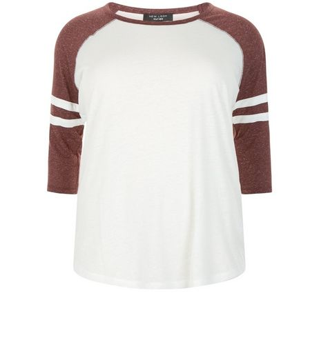 Curves Burgundy Raglan Stripe Sleeve Top | New Look