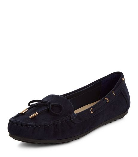 Wide Fit Navy Suedette Mocassins | New Look