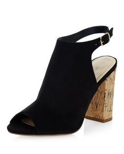 Black Suedette Peep Toe Contrast Cork Block Heels | New Look