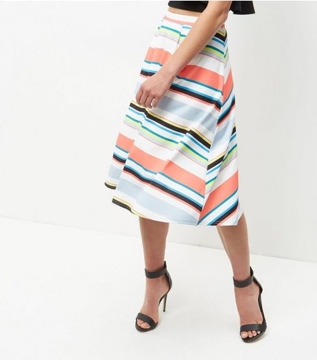 Multicoloured Stripe Midi Skater Skirt  | New Look