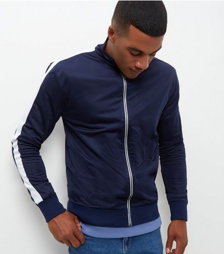 Navy Contrast Stripe Sleeve Zip Up Jacket  | New Look
