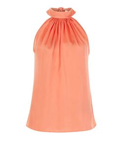 Coral Sateen Halter Neck Vest  | New Look