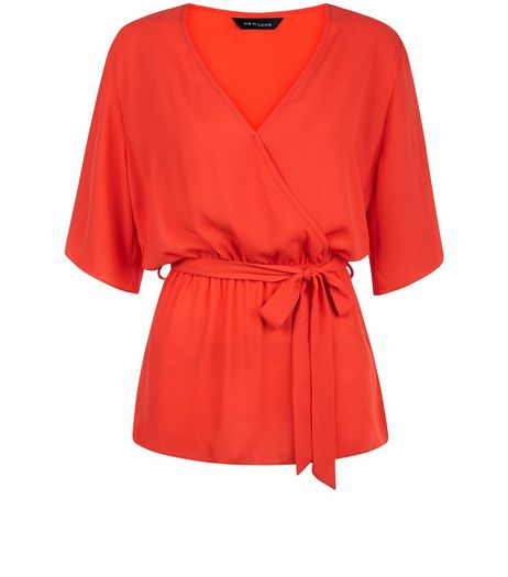 Bright Orange Belted Wrap 1/2 Sleeve Top | New Look