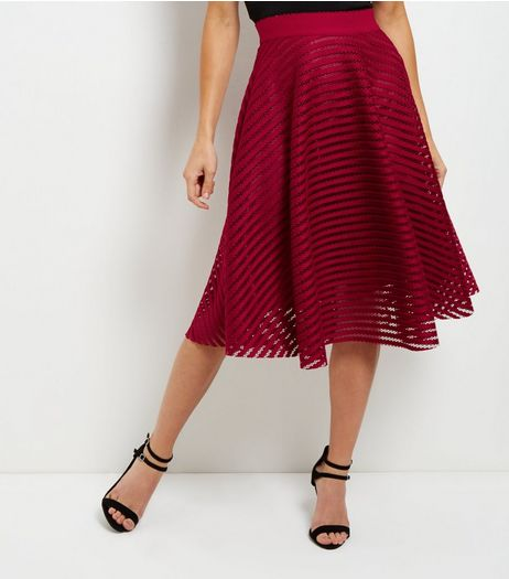 Dark Red Mesh Stripe Midi Skater Skirt | New Look