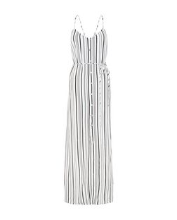 White Stripe Button Front Maxi Dress  | New Look