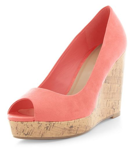 Coral Suedette Peep Toe Wedges  | New Look