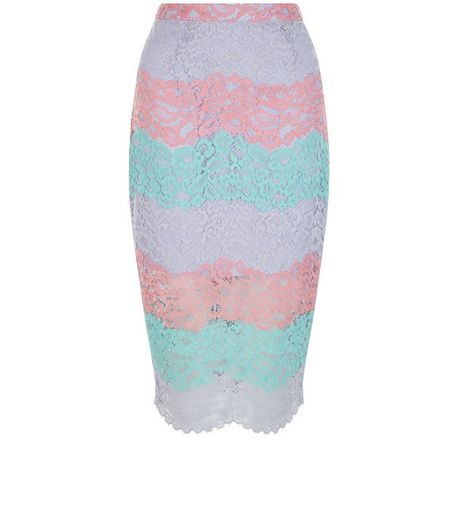 Multicoloured Stripe Lace Split Hem Pencil Skirt | New Look