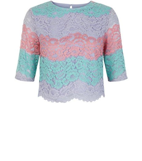 Multicoloured Stripe Lace 1/2 Sleeve Crop Top | New Look