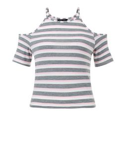 Teens Pink Stripe Cold Shoulder T-Shirt | New Look