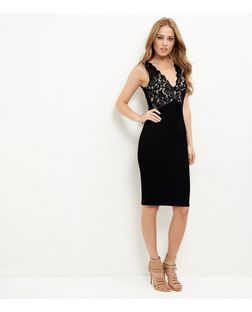 Black Lace Knit V Neck Bodycon Dress | New Look