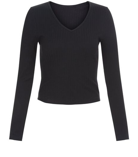 Teens Black V Neck Long Sleeve Top | New Look
