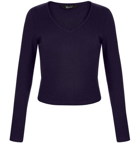 Teens Navy Ribbed V Neck Long Sleeve Top | New Look