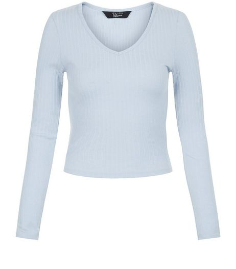 Teens Pale Blue V Neck Long Sleeve Top | New Look