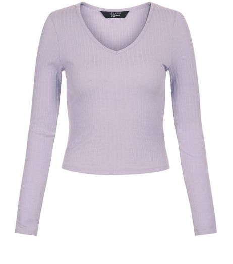 Teens Lilac Ribbed Long Sleeve Top | New Look