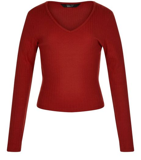 Teens Dark Red Ribbed Long Sleeve Top | New Look