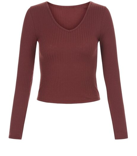 Teens Burgundy V Neck Long Sleeve Top | New Look