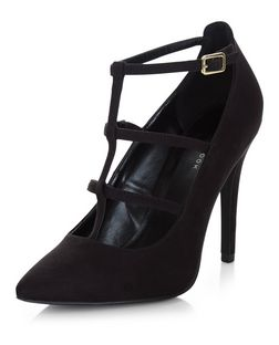 Black Suedette Multi Strap Pointed Heels  | New Look