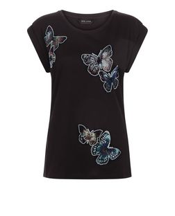 Black Butterfly Print Roll Sleeve T-Shirt  | New Look