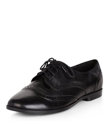 Teens Black Leather Lace Up Brogues | New Look