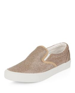 Gold Shimmer Slip On Plimsolls  | New Look