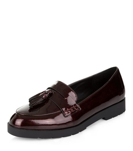Dark Red Patent Loafers  | New Look