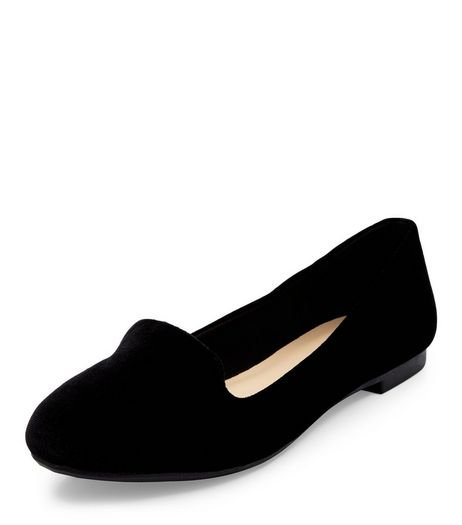 Black Velvet Slipper Shoes  | New Look