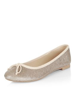 Gold Textured Ballet Pumps | New Look
