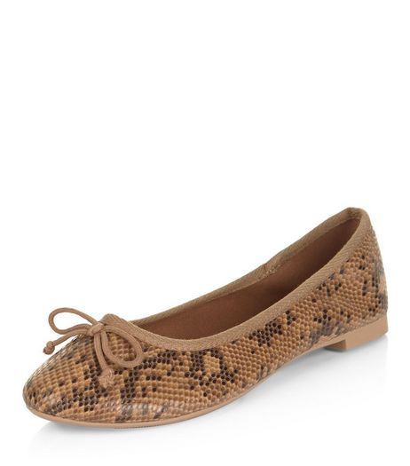 Brown Snakeskin Print Ballet Pumps | New Look